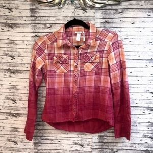 Sz 14 Girls Justice Plaid Flannel Shirt